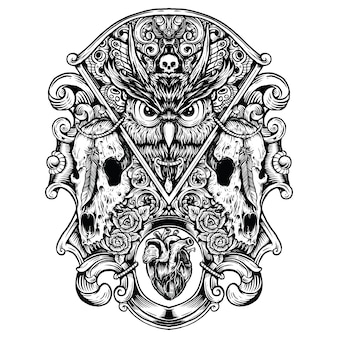 Owl evil with wold skulls hand drawing artwork combination black and white illustration