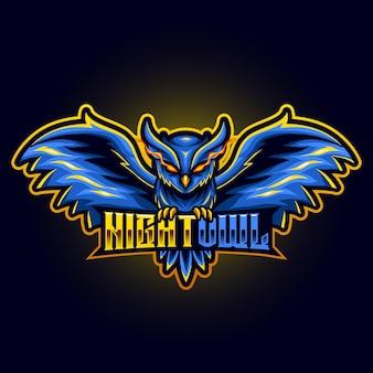 フクロウの目は、スポーツやeスポーツのロゴのベクトル図の怒っている空飛ぶ動物のマスコットを発射します