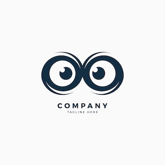 Owl eyes logo design template
