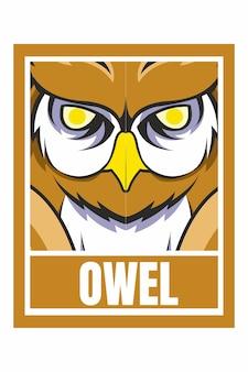Owl face design frame illustration isolated