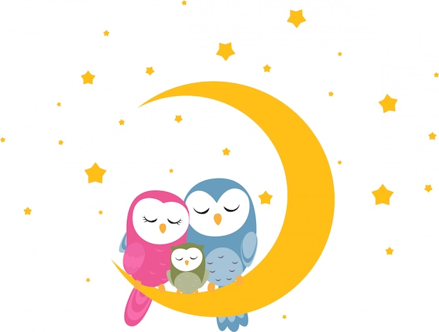 Owl family sleep on the moon background for wallpaper