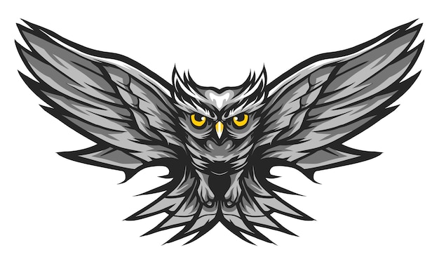Owl fly monochrome color vector illustration isolated on white