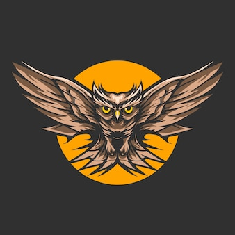 Owl fly on night over the moon vector illustration design
