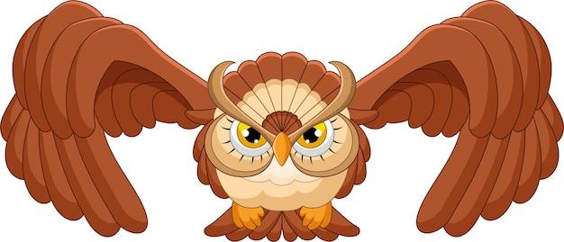 白い背景の上のフクロウの飛行漫画