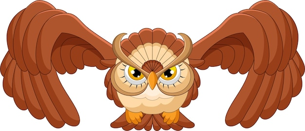 Owl flying cartoon on white background Premium Vector