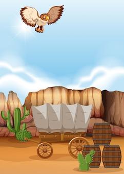 Owl flying over the wagon in desert