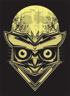 Owl on forest silhouette vector