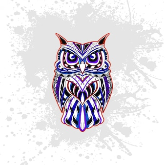 Owl from abstract decorative pattern