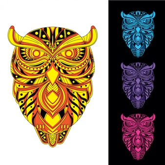 Owl  from decorative pattern glow in the dark set