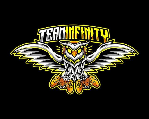 Сова геймер, талисман логотип