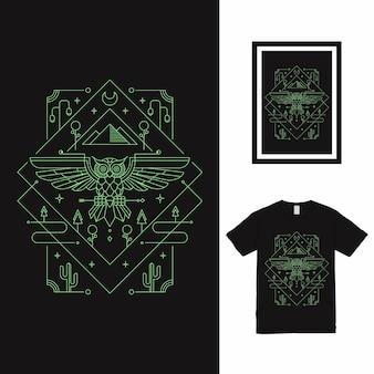 올빼미 정원 라인 아트 t 셔츠 디자인