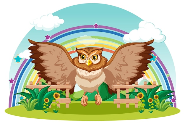 Owl in the garden with rainbow on white background