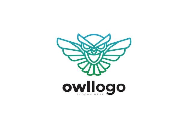 올빼미 기하학적 모노 라인 크리에이 티브 로고 디자인
