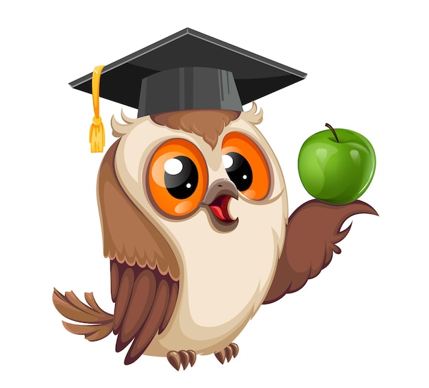 Owl in graduation cap holding green apple back to school wise owl cartoon character