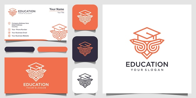 Owl in graduation cap on pencil linear icon education thin line illustration school