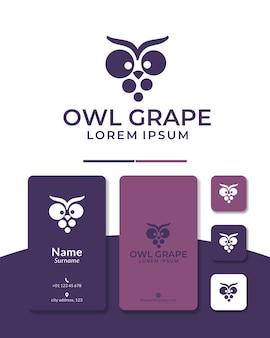 Owl grape logo design fruit vegetable