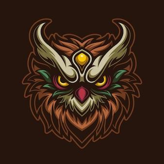 フクロウの頭漫画のロゴのテンプレートイラスト。 esportロゴゲーム