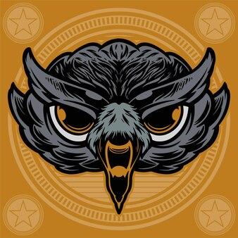 Owl head on circle background  illustration