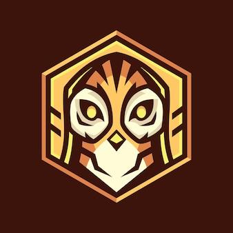 Owl head hexagon logo design