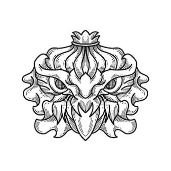 Owl head line art  illustration