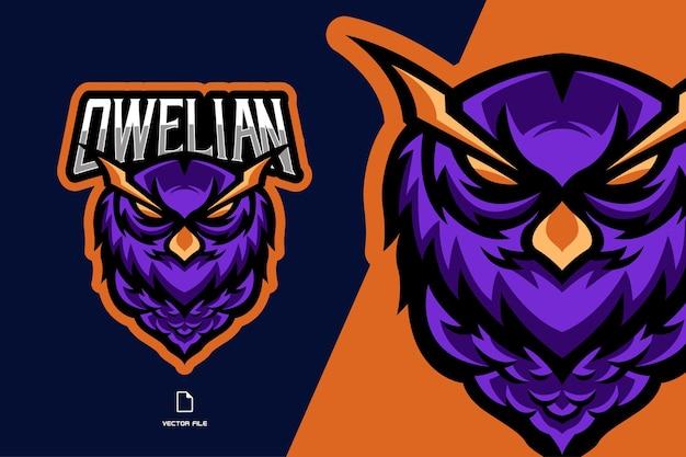 フクロウの頭のマスコットeスポーツゲームのロゴ Premiumベクター