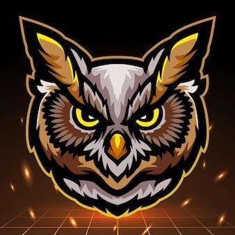 フクロウの頭のマスコット。 eスポーツロゴデザイン