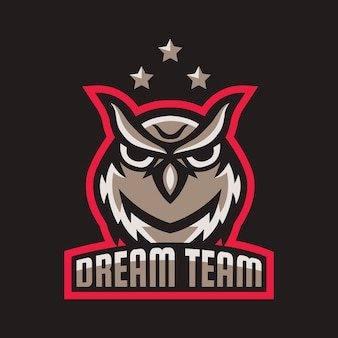 Owl head mascot logo design vector