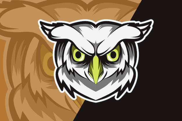 Owl head mascot logo for electronic sport gaming