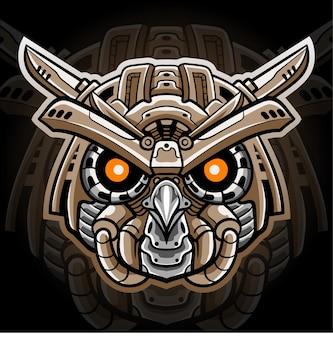Голова совы меховой талисман. киберспорт дизайн логотипа