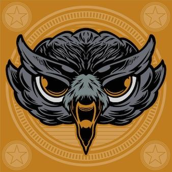 Голова совы на круг фоновой иллюстрации