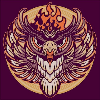 Голова совы на старинный орнамент фона иллюстрации