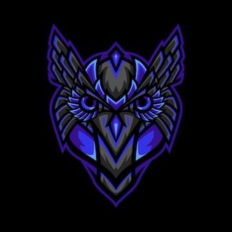 Owl head tribal mascot logo illustration