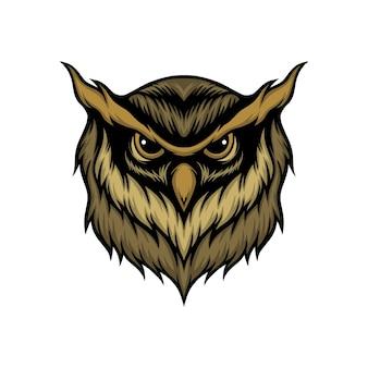 フクロウの頭のベクトル図
