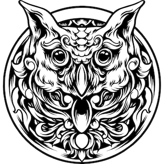 Owl head with ornament silhouette