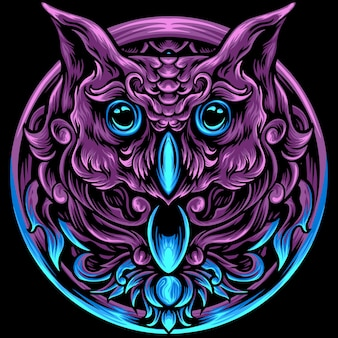 Owl head with ornament