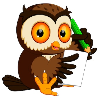 Owl holding pencil and writing