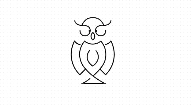 Owl icon in outline style, black background
