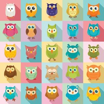 Owl icons set, flat style