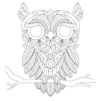 フクロウのイラスト、直線的なスタイルの塗り絵のマンダラzentangle