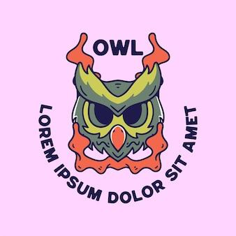 Owl illustration vintage retro style for shirts