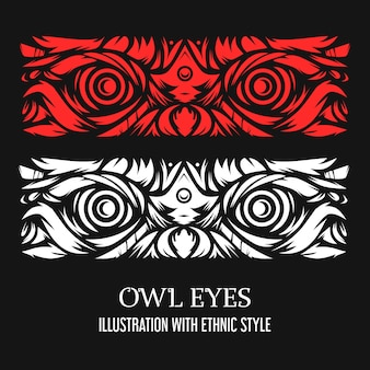 Owl illustration with ethnic style