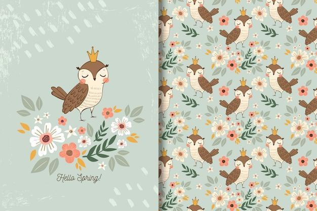 Иллюстрация сова с цветами и бесшовные