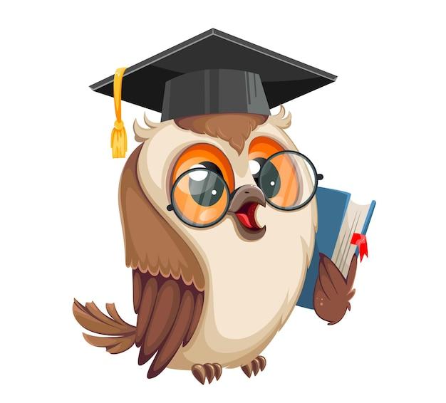 Сова в выпускной кепке, держащей книгу. обратно в школу. мудрая сова мультипликационный персонаж. фондовый вектор иллюстрация