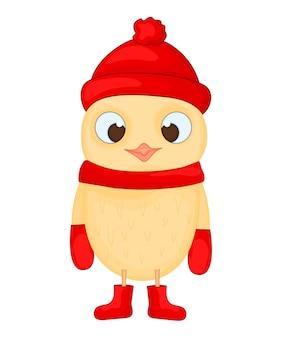 모자, 스카프, 부츠 및 장갑에 올빼미. 새 해와 크리스마스 엽서. 흰색 배경에 고립 된 개체 새입니다.