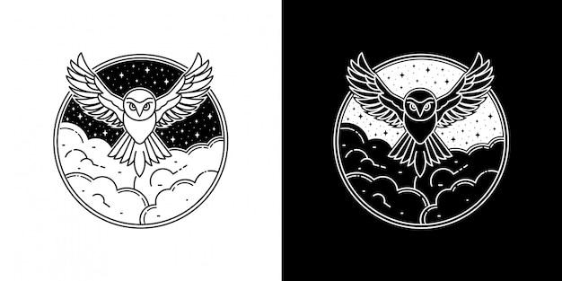 Дизайн значка с изображением совы в облаке