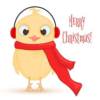 暖かいヘッドホンとスカーフのフクロウ。新年とクリスマスのポストカード。白い背景の上の孤立したオブジェクトの鳥。テキストとおめでとうのテンプレート。