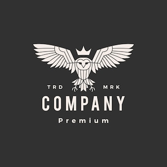 Owl king hipster vintage logo template