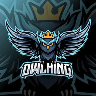 Owl king mascot esport logo