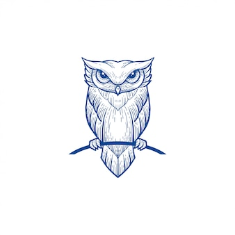 Owl line art blue color portrait