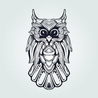 Owl line art dark blue ronin style
